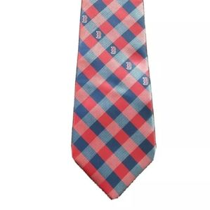 Boston Red Sox Plaid Mens Tie made from polyester.